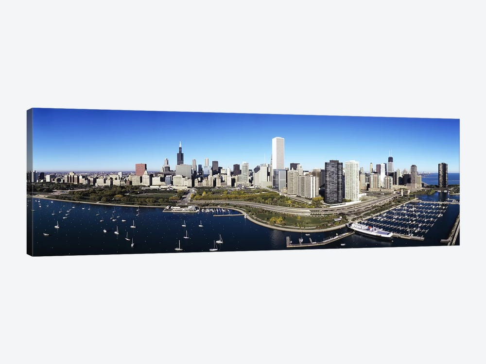 Boats docked at a harbor, Chicago, Illinois, USA by Panoramic Images 1-piece Canvas Print