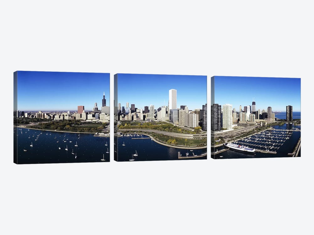 Boats docked at a harbor, Chicago, Illinois, USA by Panoramic Images 3-piece Art Print