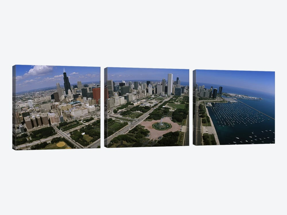 Skyscrapers in a city, Chicago, Illinois, USA by Panoramic Images 3-piece Canvas Wall Art