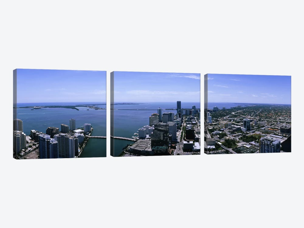 Aerial view of a city, Miami, Florida, USA by Panoramic Images 3-piece Art Print