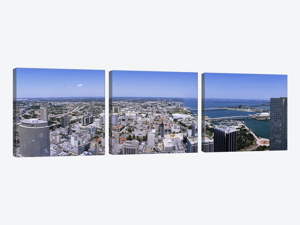 Aerial view of a city, Miami, Florida, USA #2 by Panoramic Images 3-piece Canvas Art