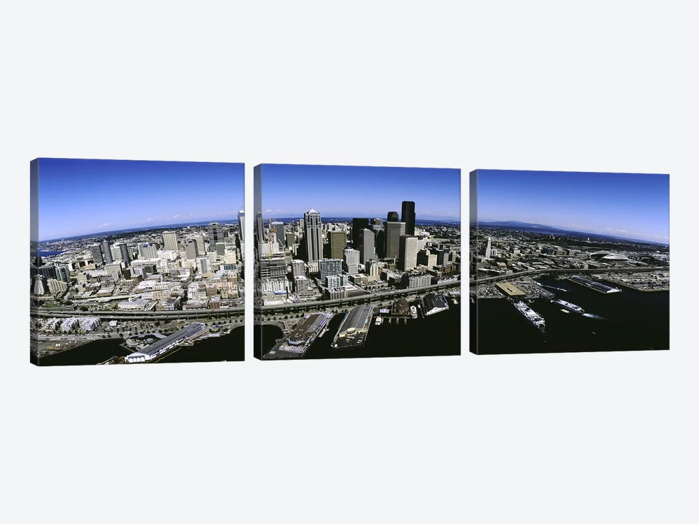 Aerial view of a city, Seattle, Washington State, USA by Panoramic Images 3-piece Canvas Art Print