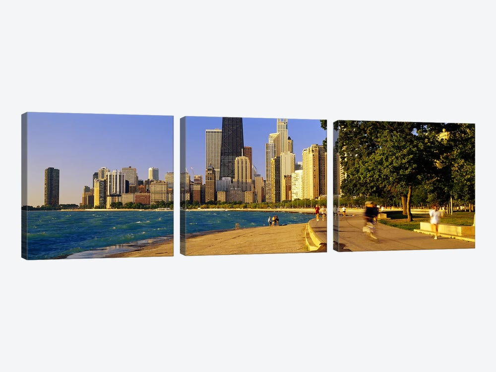 Group of people joggingChicago, Illinois, USA by Panoramic Images 3-piece Canvas Print