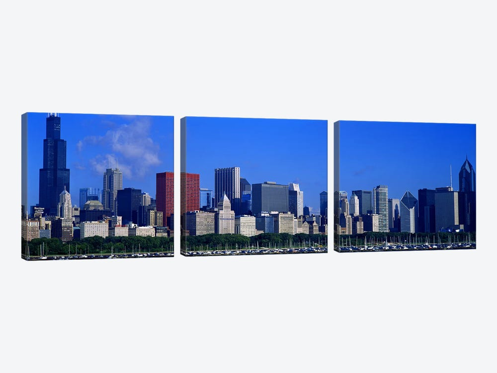 Skyscrapers in a cityChicago, Illinois, USA by Panoramic Images 3-piece Canvas Artwork