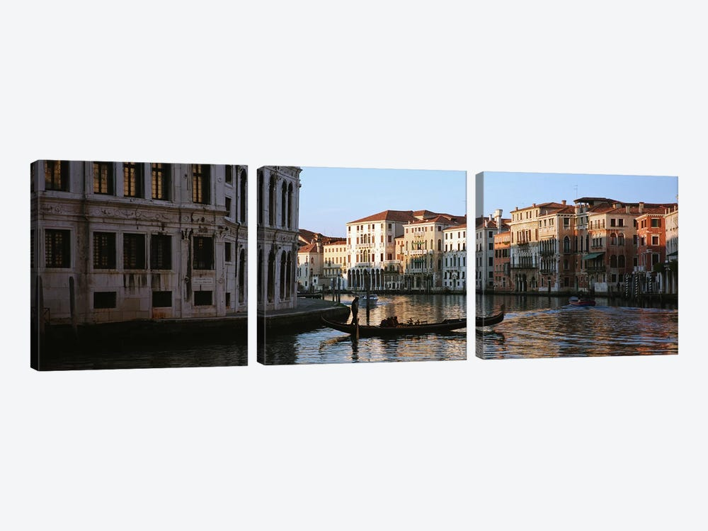 Vessels On The Move, Grand Canal, Venice, Italy by Panoramic Images 3-piece Canvas Artwork