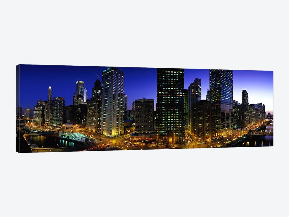 Buildings lit up at duskChicago, Illinois, USA by Panoramic Images 1-piece Canvas Artwork