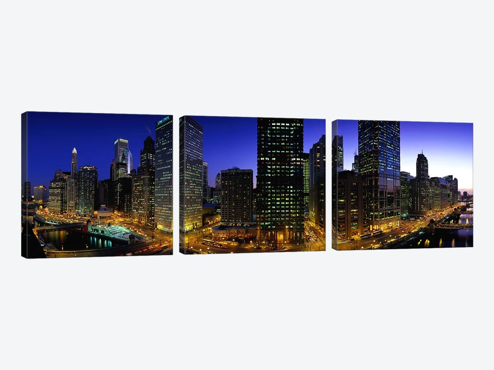Buildings lit up at duskChicago, Illinois, USA by Panoramic Images 3-piece Canvas Wall Art