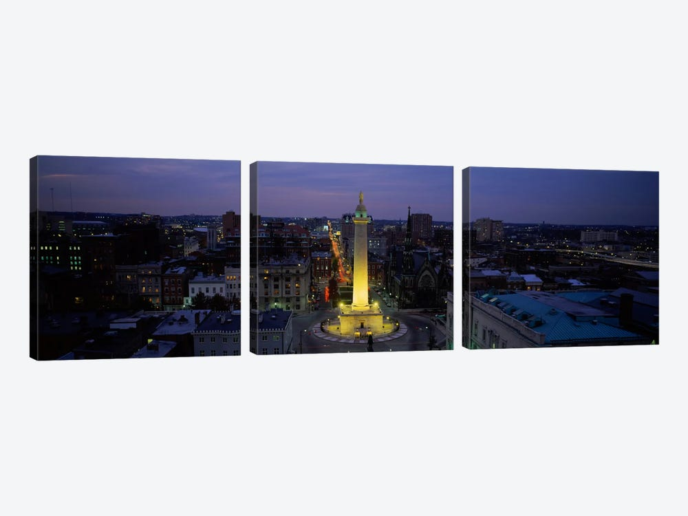High angle view of a monument, Washington Monument, Mount Vernon Place, Baltimore, Maryland, USA by Panoramic Images 3-piece Canvas Art