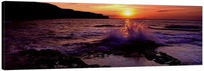Wave Breaking on RocksBempton, Yorkshire, England, United Kingdom Canvas Art Print