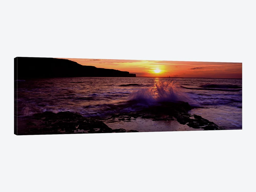 Wave Breaking on RocksBempton, Yorkshire, England, United Kingdom by Panoramic Images 1-piece Canvas Wall Art