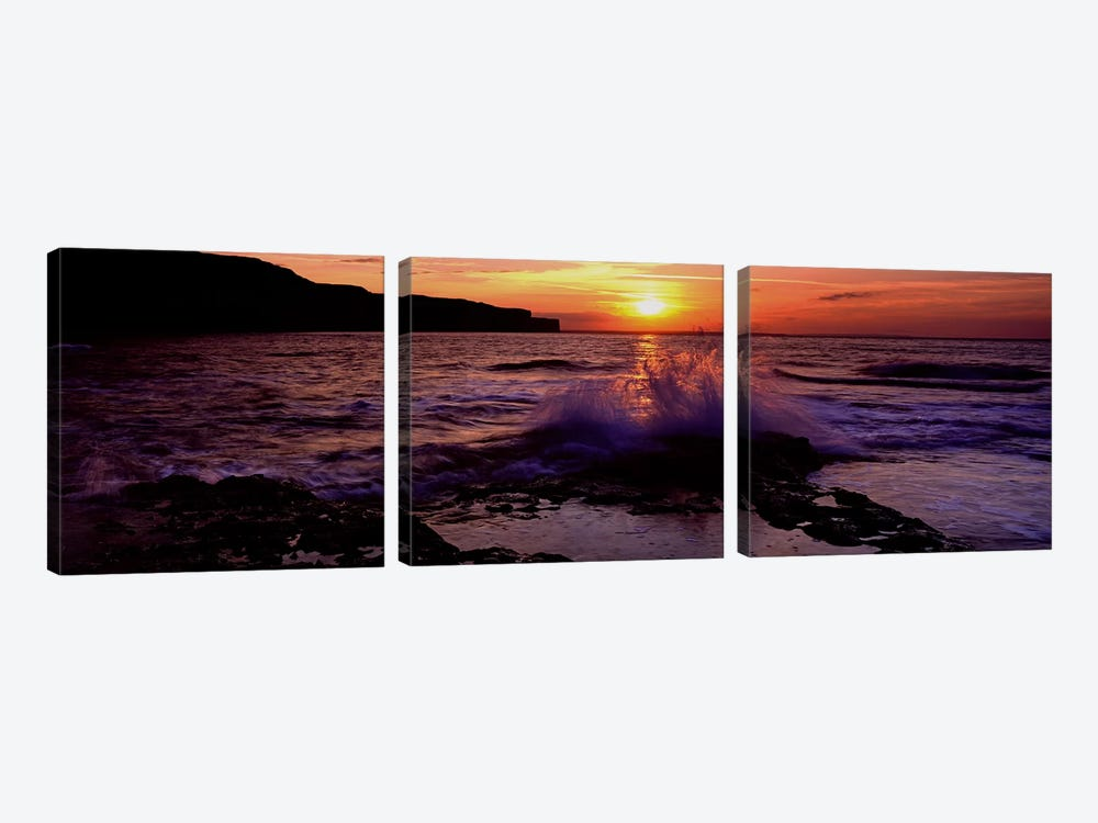 Wave Breaking on RocksBempton, Yorkshire, England, United Kingdom by Panoramic Images 3-piece Canvas Artwork