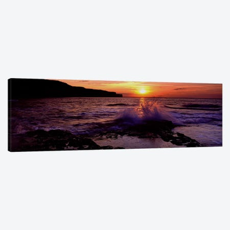 Wave Breaking on RocksBempton, Yorkshire, England, United Kingdom Canvas Print #PIM5210} by Panoramic Images Canvas Print