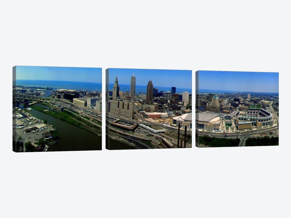Cleveland Ohio aerial by Panoramic Images 3-piece Canvas Art Print