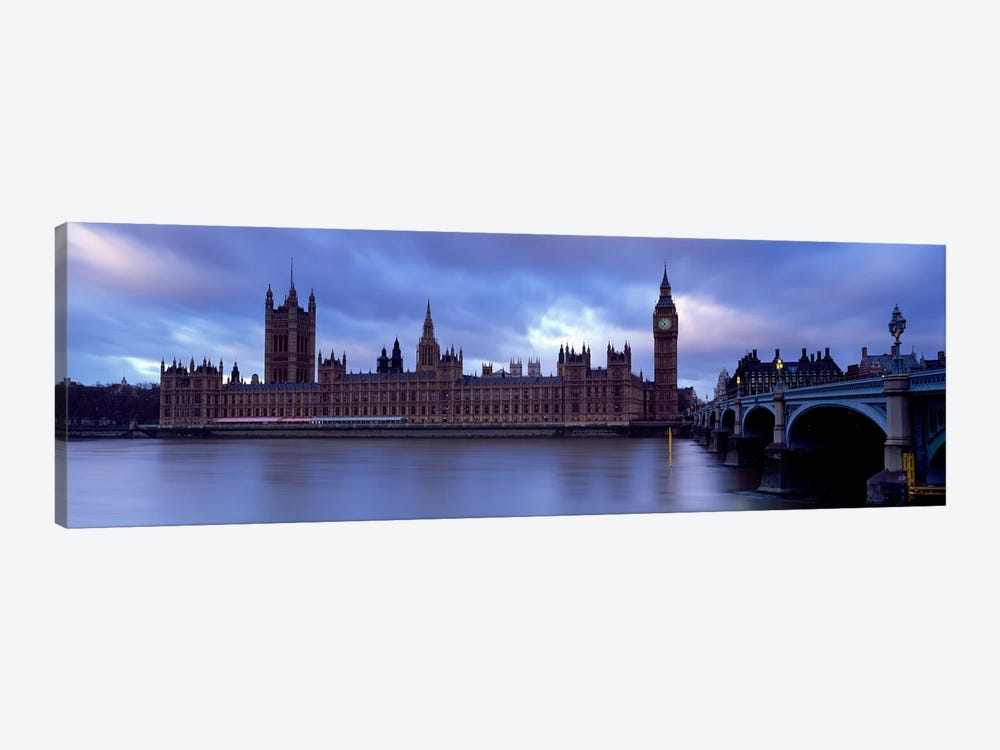 Palace Of Westminster On A Cloudy Day, London, England, United Kingdom by Panoramic Images 1-piece Canvas Art Print