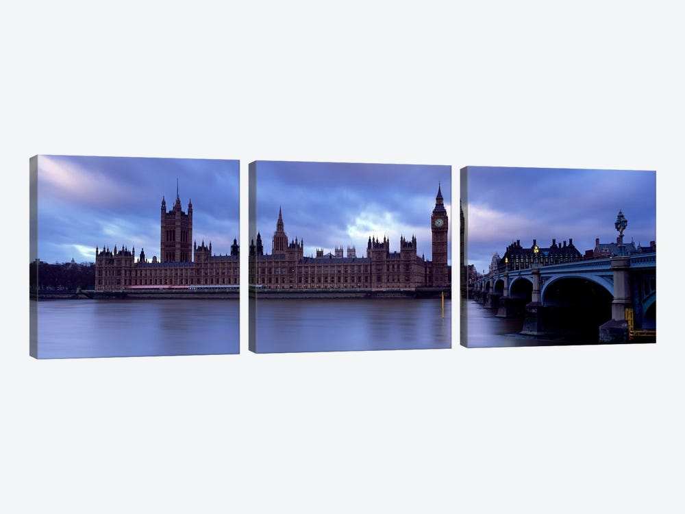 Palace Of Westminster On A Cloudy Day, London, England, United Kingdom by Panoramic Images 3-piece Canvas Print
