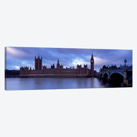 Palace Of Westminster On A Cloudy Day, London, England, United Kingdom Canvas Print #PIM5220} by Panoramic Images Canvas Wall Art