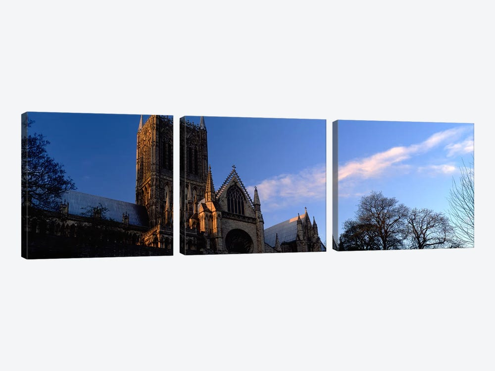High Section View of A CathedralLincoln Cathedral, Lincolnshire, England, United Kingdom by Panoramic Images 3-piece Canvas Art