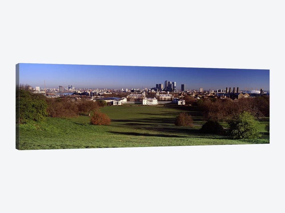 Distant View Of Canary Wharf On The Isle Of Dogs From Greenwich Park, London, England 1-piece Art Print