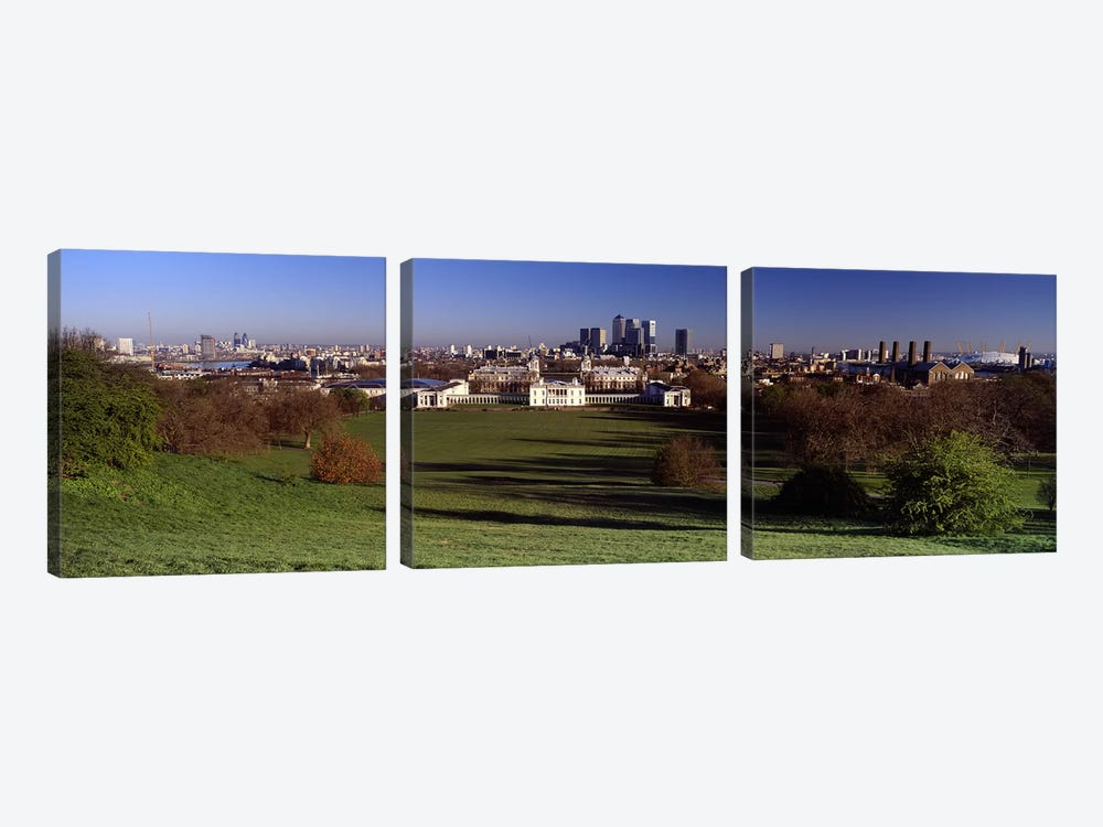 Distant View Of Canary Wharf On The Isle Of Dogs From Greenwich Park, London, England 3-piece Canvas Art Print