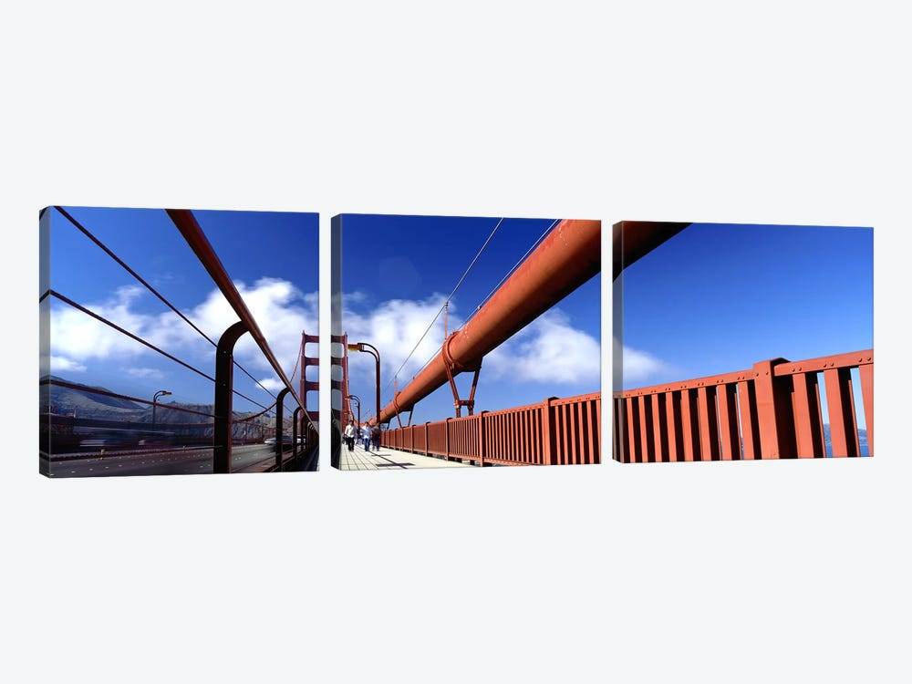 Tourist Walking on A BridgeGolden Gate Bridge, San Francisco, California, USA by Panoramic Images 3-piece Canvas Art Print