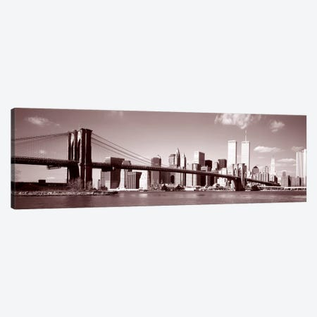 Brooklyn Bridge, Hudson River, NYC, New York City, New York State, USA Canvas Print #PIM522} by Panoramic Images Art Print