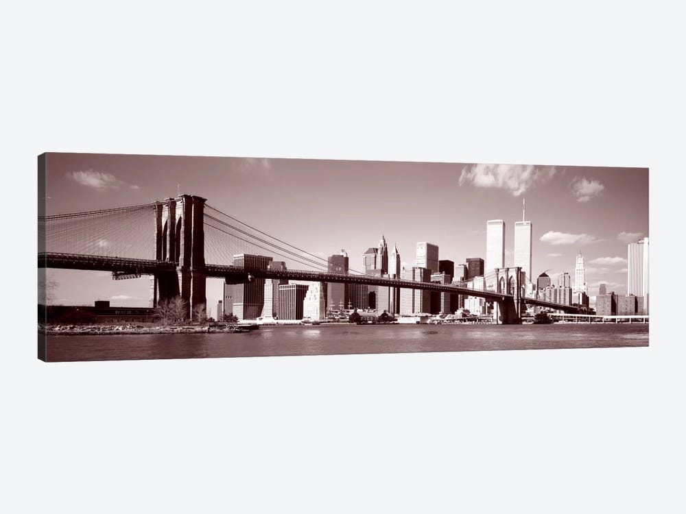 Brooklyn Bridge, Hudson River, NYC, New York City, New York State, USA by Panoramic Images 1-piece Canvas Wall Art