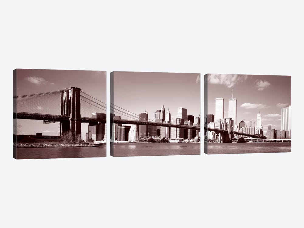 Brooklyn Bridge, Hudson River, NYC, New York City, New York State, USA by Panoramic Images 3-piece Canvas Art