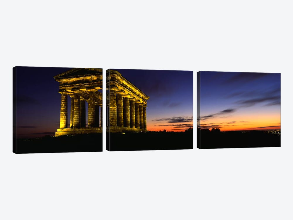 Monument Lit Up At DuskPenshaw Monument, London, England, United Kingdom by Panoramic Images 3-piece Canvas Artwork