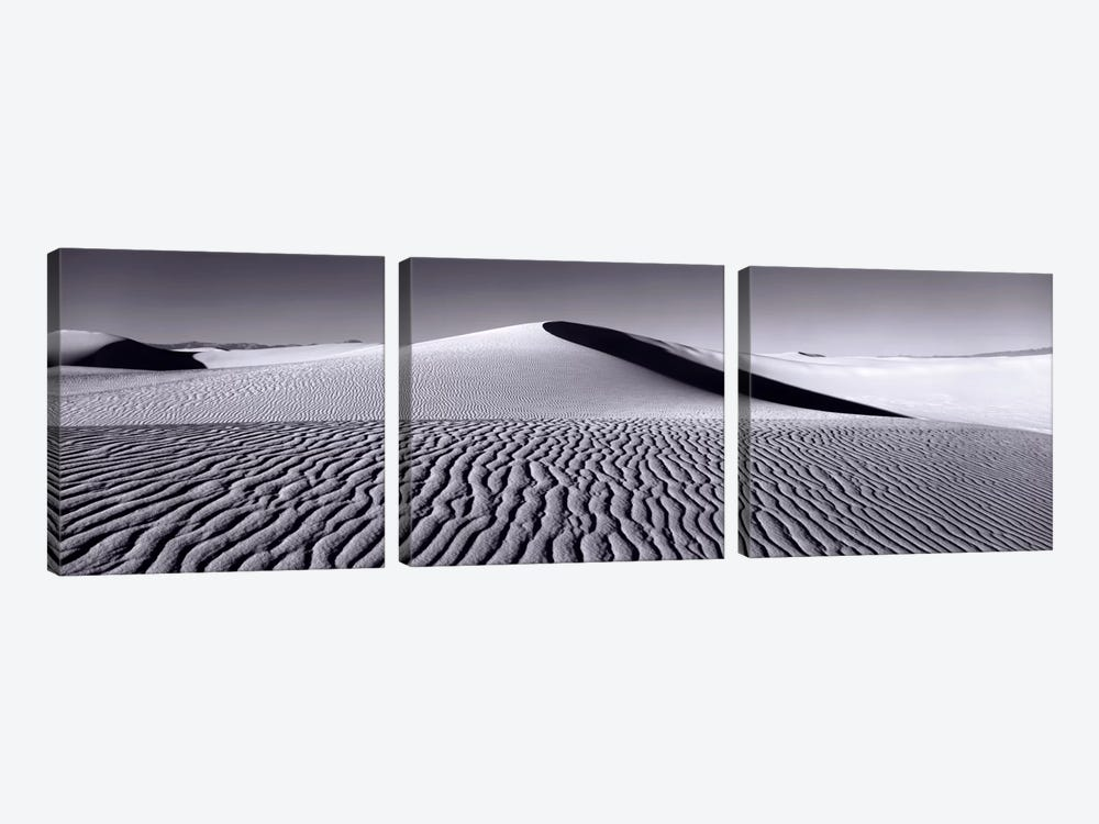 Dunes In B&W, White Sands National Monument, New Mexico, USA by Panoramic Images 3-piece Canvas Print