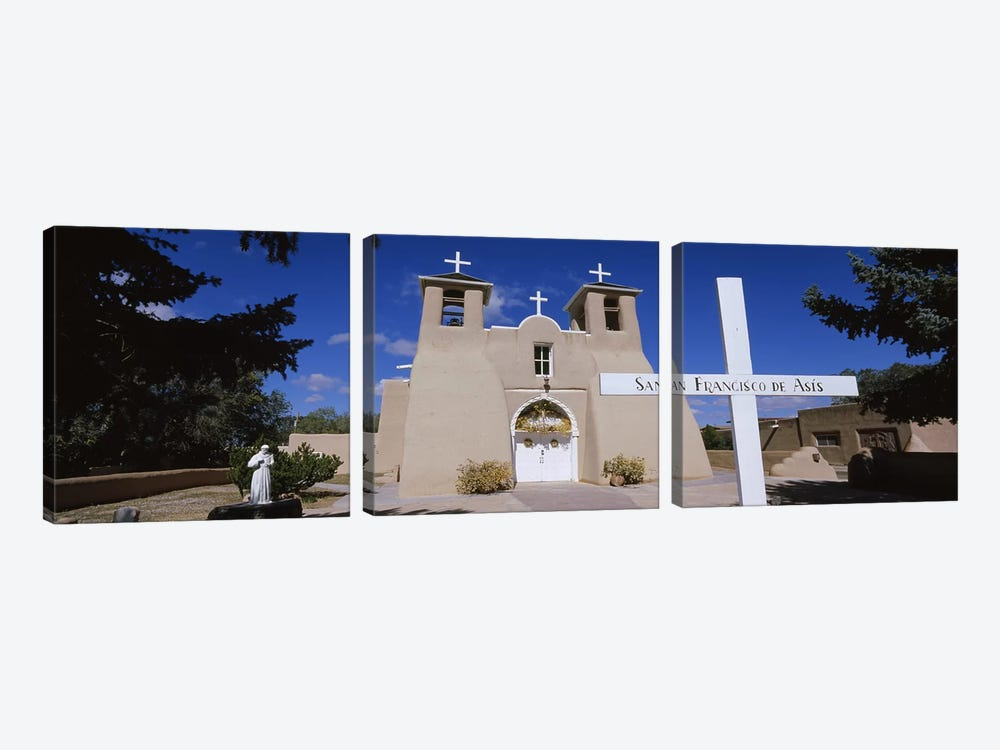 Cross in front of a church, San Francisco de Asis Church, Ranchos De Taos, New Mexico, USA by Panoramic Images 3-piece Canvas Print