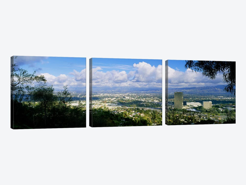 High angle view of a city, Studio City, San Fernando Valley, Los Angeles, California, USA by Panoramic Images 3-piece Canvas Art Print
