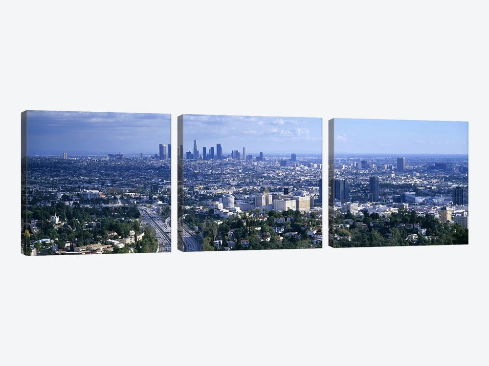 Aerial view of a city, Los Angeles, California, USA by Panoramic Images 3-piece Canvas Print