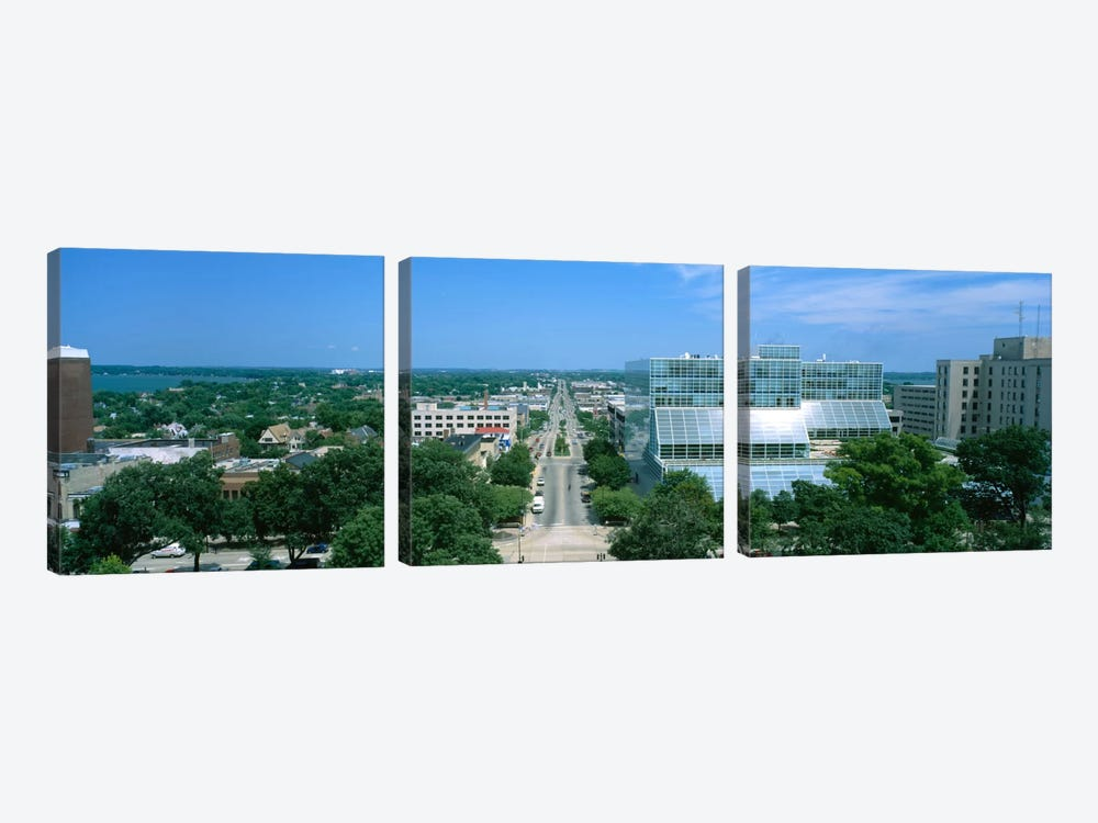 High Angle View Of A City, E. Washington Ave, Madison, Wisconsin, USA by Panoramic Images 3-piece Canvas Artwork
