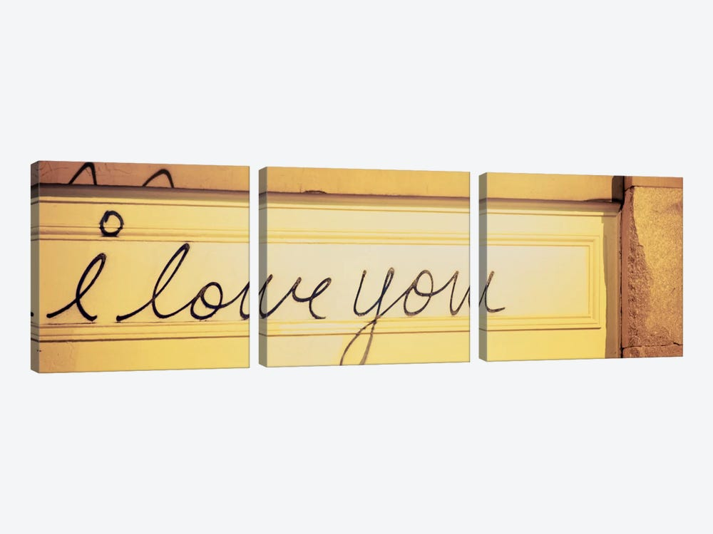 Close-up of I love you written on a wall by Panoramic Images 3-piece Canvas Art Print