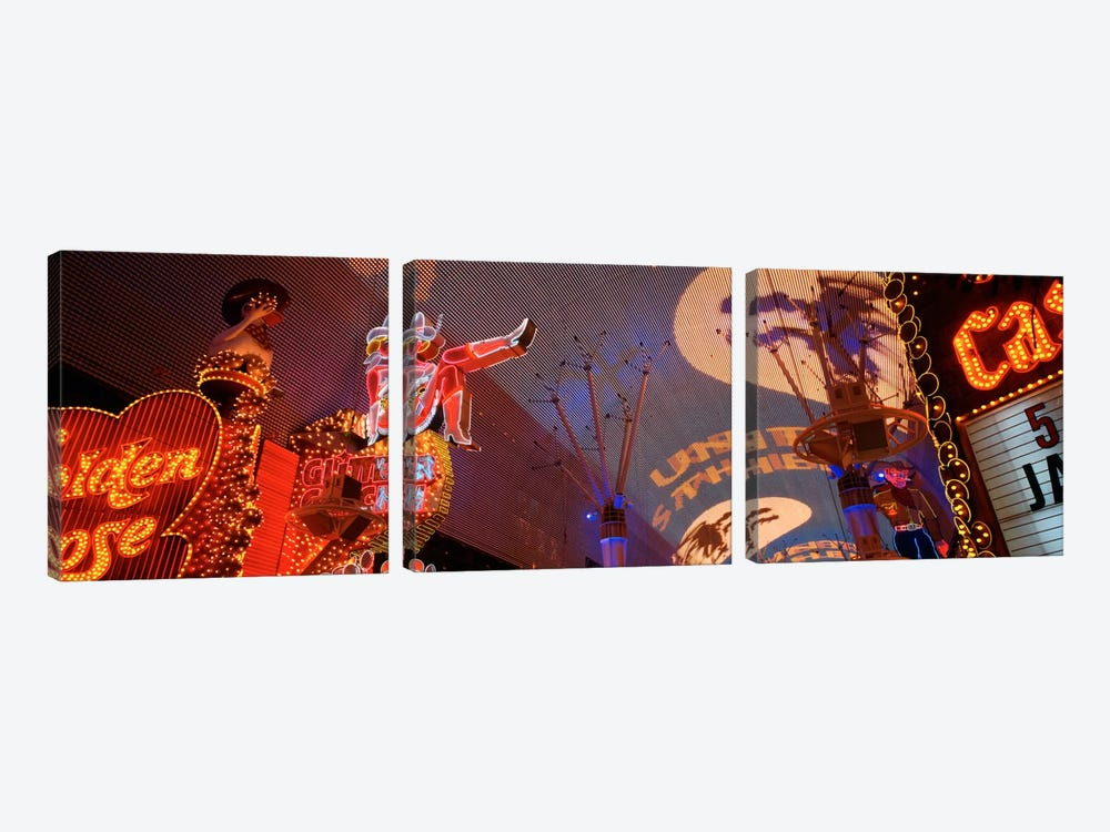 Fremont Experience Las Vegas NV USA by Panoramic Images 3-piece Canvas Print