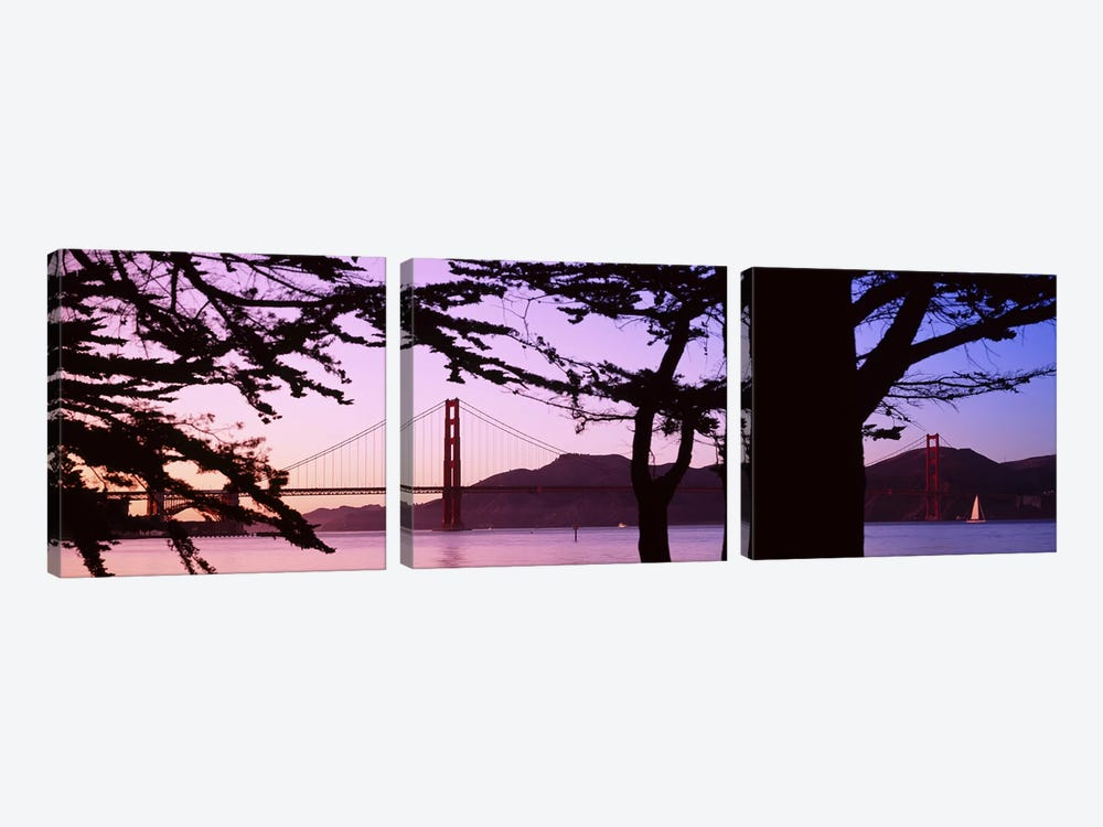 Suspension Bridge Over Water, Golden Gate Bridge, San Francisco, California, USA by Panoramic Images 3-piece Canvas Artwork