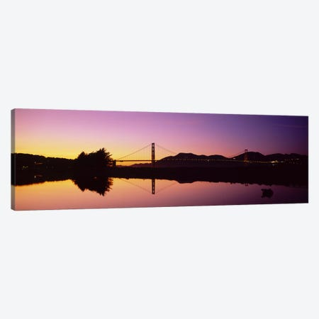 Reflection Of A Suspension Bridge On Water, Golden Gate Bridge, San Francisco, California, USA Canvas Print #PIM5262} by Panoramic Images Canvas Wall Art