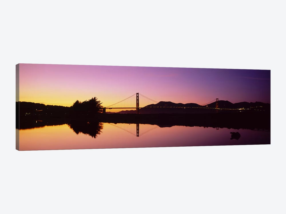 Reflection Of A Suspension Bridge On Water, Golden Gate Bridge, San Francisco, California, USA 1-piece Art Print