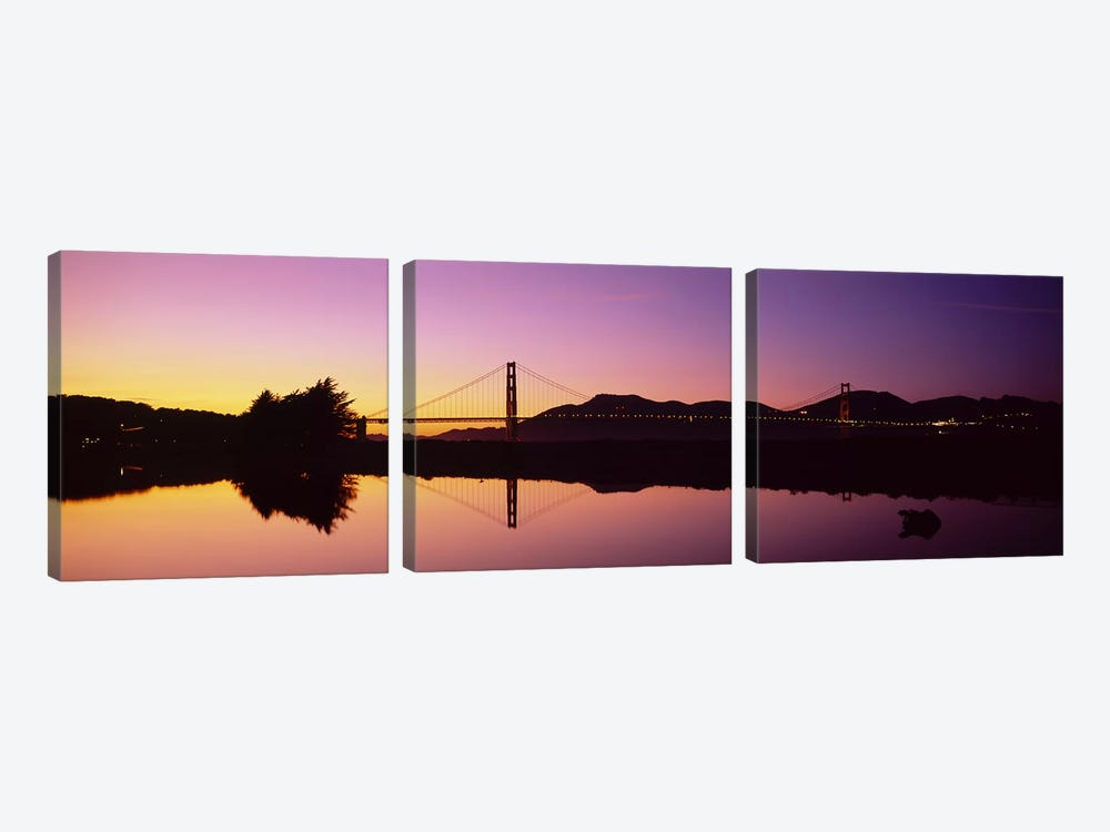 Reflection Of A Suspension Bridge On Water, Golden Gate Bridge, San Francisco, California, USA 3-piece Canvas Print