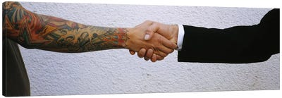 Close-Up Of Two Men Shaking Hands Canvas Art Print