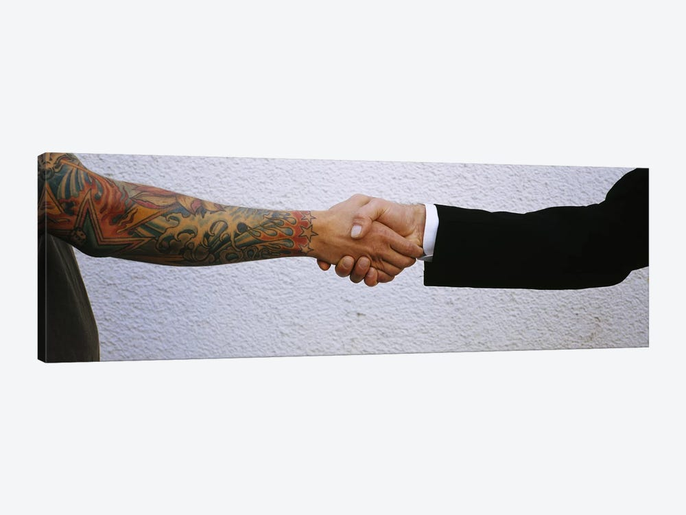 Close-Up Of Two Men Shaking Hands by Panoramic Images 1-piece Canvas Art Print