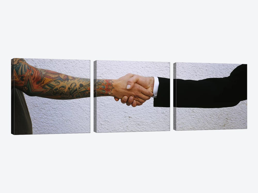Close-Up Of Two Men Shaking Hands by Panoramic Images 3-piece Art Print