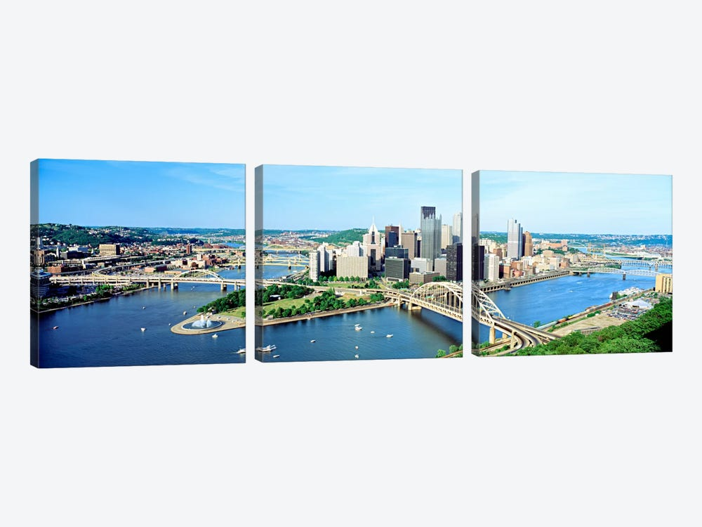 Daytime Skyline, Pittsburgh, Pennsylvania, USA by Panoramic Images 3-piece Art Print