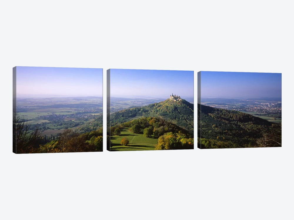 Distant Aerial View Of Burg Hohenzollern, Baden-Wurttemberg, Germany by Panoramic Images 3-piece Canvas Wall Art
