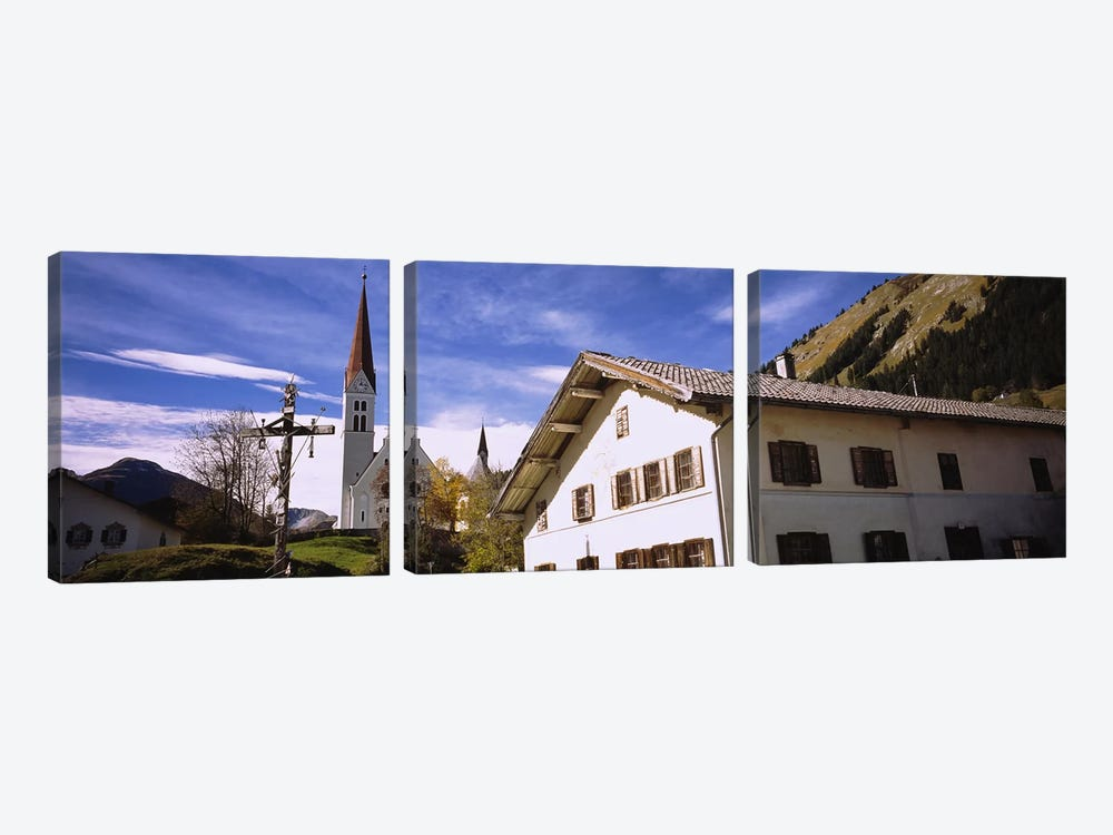 Low Angle View Of A Church, Holzgau, Lechtal, Austria by Panoramic Images 3-piece Canvas Artwork
