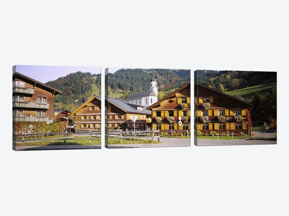 Church In A Village, Bregenzerwald, Vorarlberg, Austria 3-piece Canvas Artwork