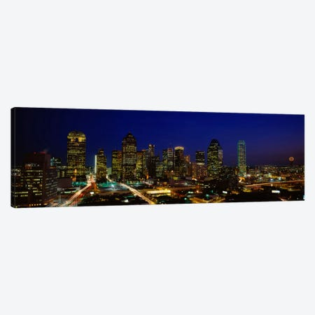 Buildings in a city lit up at night, Dallas, Texas, USA Canvas Print #PIM5308} by Panoramic Images Canvas Print