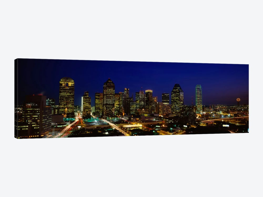 Buildings in a city lit up at night, Dallas, Texas, USA by Panoramic Images 1-piece Canvas Wall Art
