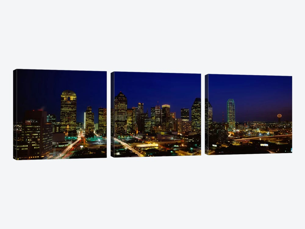 Buildings in a city lit up at night, Dallas, Texas, USA by Panoramic Images 3-piece Canvas Art