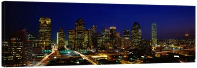 Buildings in a city lit up at night, Dallas, Texas, USA Canvas Art Print